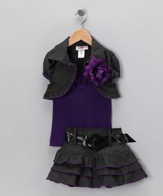 Take a look at this Grey & Purple Ruffle Skirt Set - Toddler & Girls by Citlali's Choice on #zulily today!