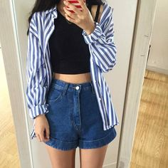 girl, fashion and style image on We Heart It Korea Fashion, Asian Fashion, Look Fashion, Girl Fashion, Fashion Outfits, Korean Outfits, Short Outfits, Summer Outfits, Casual Outfits