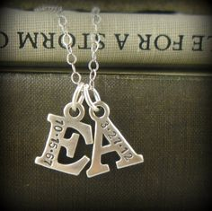 Mommy Necklace, Mom, 2 Letters, Initials, New Mom, Graduation, Personalized, Handstamped, Date, New Baby Jewelry, Sterling, Monogram, I4