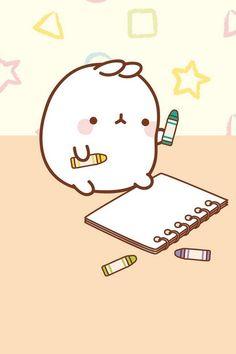 스케치하는 몰랑이 | 캐릭터 | 귀여운 | 이모티콘 | 몰랑이 | Molang | Character | Cute | Kawaii | Adorable | Lovely | かわいい | キャラクター |