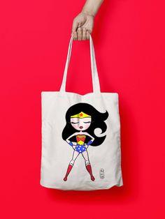 Bolso Tote, Wonder Woman , bolso tote serigrafiado, bolsa de tela orgánica, bolsa de tela, regalo, bolso algodón, tote super heroes de mukeka en Etsy