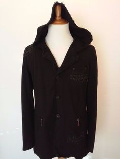 Men's CHOR GOTH Barbed Wire XL Black Solid Cotton Hooded Jacket Coat Zip Pocket #Chor #HoodedJacketCoat