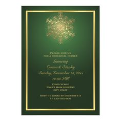 Indian Wedding Rehearsal Dinner Gold snowflake green wedding rehearsal dinner card