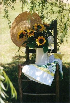Shabby Fall...sunflowers in a white pitcher...Life in the country by jenover2010, via Flickr.