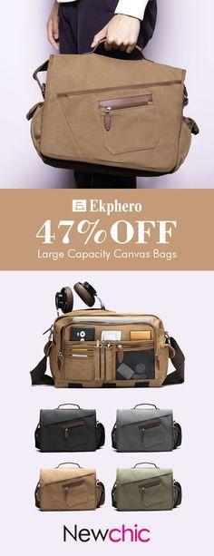 Ekphero Vintage Large Capacity Multi-pocket Canvas Crossbody Bag For  Men casual  style aaf747d6a45