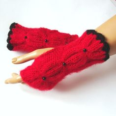 Hand Knit Red Fingerless Gloves Ornamented Black Bead by Pasin, $32.00
