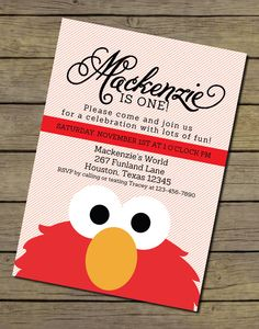 Elmo Invitation | Elmo Invite | Elmo Birthday Party Invitation | Sesame Street Invitation | Sesame Street Birthday Party by CharlesAlexDesign on Etsy https://www.etsy.com/listing/200590319/elmo-invitation-elmo-invite-elmo