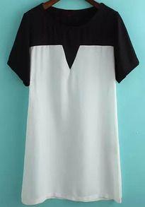 Colour-block Short Sleeve Loose Dress