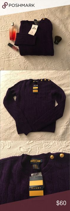 🆕Ralph Lauren rugby sweater 100% CASHMERE ⚜️⚜️Nice and cozy plum colored sweater in SMALL.    NWT can be layered with a nice collar button down shirt. Great for the office women!! Sweater not available in stores anymore. Price is not firm so make an offer ladies!!! ⚜️⚜️ 🎁🎁FREE GIFT WITH EVERY PURCHASE🎁🎁 Ralph Lauren Sweaters Crew & Scoop Necks