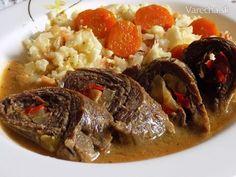 Hovězí roládky plněné kapií a celerem s květákovou rýží - Recept Paleo, Keto, Pot Roast, Clean Eating, Meals, Ethnic Recipes, Carne Asada, Roast Beef, Eat Healthy