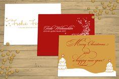 weihnachtskarten in DIN A6, mit Golddruck, Lackierung oder Strassteinen Rot, Gold, Weiß, Creme, Hirsch, Tannen, Sterne ©passion4paper www.die-edle-karte.de