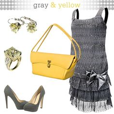 Gray Dress and Yellow Accessories
