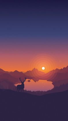 Lakeside Sunset Wallpaper by Louis Coyle on Inspirationde Illustration Main, Sunset Background, Minimalist Wallpaper, Aesthetic Wallpapers, Pixel Art, Wallpaper Backgrounds, Iphone Wallpapers, Vector Art, Cool Art
