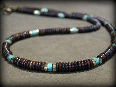 Mens Necklace Turquoise Necklace Bone door StoneWearDesigns http://www.stylewarez.com