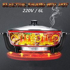 Electric Hot Pot, 220V Non-Stick 6L 1300W Electric Hot Pot Shabu 5 Temperature Settings for 1-10 Person Dinner Home Kitchenware Table Smokeless--54.41 Health Recipes, Diet Recipes, Cooking Recipes, Hot Pot, Small Kitchen Appliances, No Cook Meals, Kitchenware, Slow Cooker, Electric