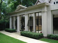 Product Spotlight ~ Steel Windows & Doors One of the things we are loving right now are the floor-to-ceiling steel-framed doors from Bliss Nor-Am. Their chic windows let an abundance of light Architecture Design, Classical Architecture, Steel Windows, Windows And Doors, Steel Frame Doors, Facade House, My Dream Home, Exterior Design, Future House