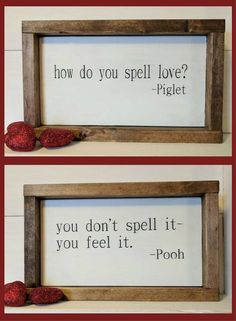 Rustic farmhouse inspired Pooh and Piglet framed wood sign set - Winnie The Pooh Nursery Decor, Rustic Nursery Decor, Farmhouse Nursery Decor, Rustic Farmhouse Home Decor, Rustic Farmhouse Sign, Fixer Upper Decor, Baby Shower Gift Idea, Baby Shower Decor, Piglet Quote, Winnie The Pooh Quote #ad