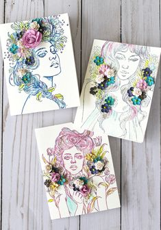 Stamp on watercolor paper using Prima Color Philosophy inks and Princess stamps for fun and innovative cards #colorphilosophyink #primaprincess #primaflowers