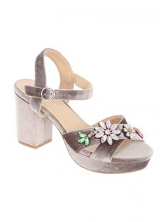 Get your dancing shoes on this season, and opt for these grey platform heels. In a classic two part sandal, and with a floral detail across the toe straps, a. Dancing Shoes, Wimbledon, Espadrilles, Platform, Toe, Detail, Sandals, Heels, Classic