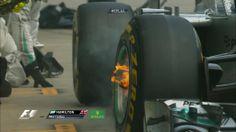 Hamilton's brakes during his pit stop #AustrianGP #F1 #SSF1 #F12014