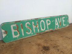 Vintage Metal Street Sign Bishop Ave Original by eddysmercantile