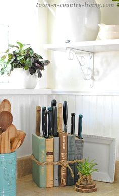 DIY Knife Holder: Flea Market Inspired knife holder made from old b. - DIY Knife Holder: Flea Market Inspired knife holder made from old books adds more char - Farmhouse Storage And Organization, Kitchen Cupboard Storage, Kitchen Cupboards, Diy Kitchen, Kitchen Tips, Organization Ideas, Kitchen Ideas, Kitchen Nook, Storage Ideas