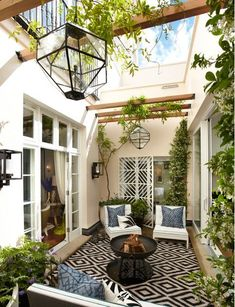 Open space in the middle of the house. Like a courtyard.