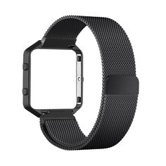 Fitbit Blaze Bands, Milanese Loop Stainless Steel Mesh Band Magnet Lock with Frame Housing for Fitbit Blaze Smart Fitness Watch - Black