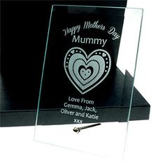 Engraved Mother's Day Glass Plaque