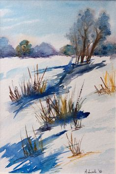 A personal favorite from my Etsy shop https://www.etsy.com/listing/558735512/winter-original-watercolor-painting-art