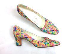 Vintage Shoes 60s Op Art Pumps  Colorful Mod by GlennasVintageShop