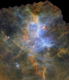#HerschelsEagleNebula | A now famous picture from the Hubble Space Telescope featured Pillars of Creation, star forming columns of cold gas and dust light-years long inside M16, the Eagle Nebula. This false-color composite image views the nearby stellar nursery using data from the Herschel Space Observatory's panoramic exploration of interstellar clouds along the plane of our Milky Way galaxy. Herschel's far infrared detectors record the emission from the region's cold dust directly.