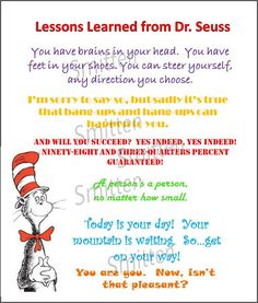 Dr Seuss Lessons Learned Colorful Quotes