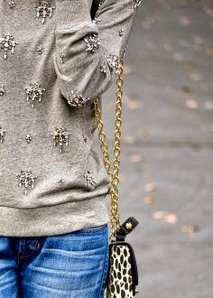 Casual Glam | J.Crew Jeweled Chandelier Sweatshirt | Sole Society Myra Hinge Mini Bag c/o | Gap Boyfriend Jeans