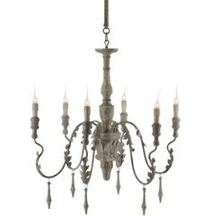 Charlemagne French Country Grey Wash 6 Light Chandelier is part of Country Home Accessories Light Fixtures This rustic hand painted chandelier is great in an entry hall or above a dining room table - Painted Chandelier, Chandelier Design, Country Light Fixtures, Eclectic Chandeliers, Chandelier Lighting, Gold Home Accessories, Light Fixtures, French Country Chandelier, Country Chandelier