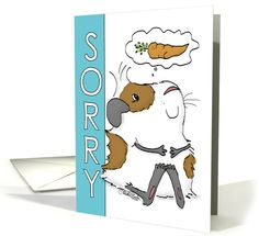 Happy Belated Birthday-Sorry-Guinea Pig Thinking of Carrot card