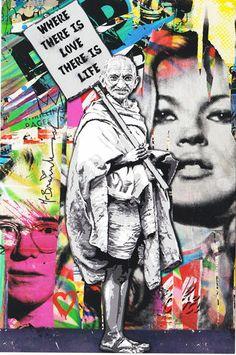 Mr Brainwash  Gandhi popart banksy kate moss andy warhol dalai lama