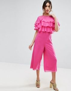 ASOS Ruffle Jumpsuit with Culotte Leg