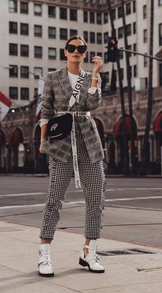 Gingham Checkered Suit, white boots, casual chic, street style, print suit, sunglasses, casual smart, fashion