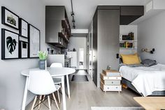 Compact life on 30 sqm #interior #design #home #decor #idea #inspiration #cozy #room #style #color #light #grey #black #white #open #space #small #tiny #living #Room #sleeping #area #scandi