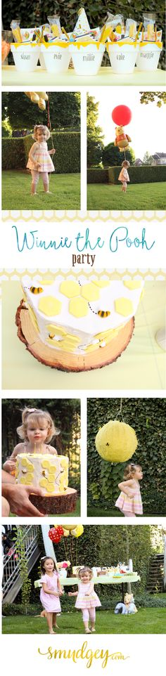 Winnie the Pooh Party — tons of party ideas!  Honey Pot party gifts, Honeycomb Cake, Beehive Pinata, Pin the tail on Eeyore, Themed Food, & Friends!
