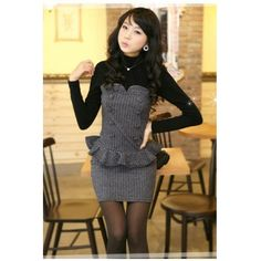 USD10.99Wool Fashion Mandarin Collar  Long Sleeve Sheath Mini Dresses