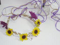 Sunflower Rustic Wedding Bridal Halo Wedding Head by FabbCreations, $36.99