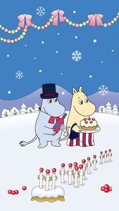 Moomin Wallpaper, Iphone Wallpaper, Christmas 2019, Winter Christmas, Les Moomins, Cartoon Hippo, Tove Jansson, Christmas Cartoons, Cartoon Images
