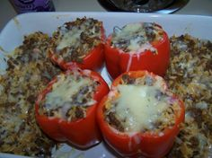 Nawlins-Style Stuffed Bell Peppers: This spicy filling is perfect for stuffed peppers. I cheat and use Zatarains Dirty Rice Mix, works well with any Dirty Rice recipe.