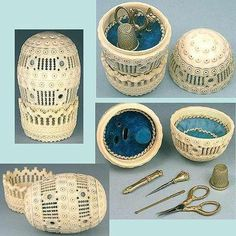 Antique French Carved Bone Egg Child's Etui Sewing Set Complete C1860s