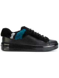 Prada shearling panel lace-up sneakers - Black Leather And Lace, Calf Leather, Cult Following, Prada Shoes, Calves, Lace Up, Slip On, Sneakers, Stuff To Buy