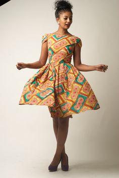 Cap Sleeve Ankara Dress SIZE 2 by solomek on Etsy, $55.00