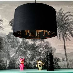 Leopards Silhouette Black Lampshade Picture majestic felines crossing the open African planes and you've discovered this Leopards Silhouette Black Lam Free Fabric Samples, Free Fabric Swatches, Chandelier Design, Table Diy, Table Lamps, Pendant Light Fitting, Light Pendant, Handmade Lampshades, Cole And Son