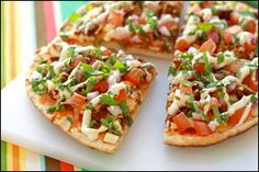Hungry Girl recipe for guilt-free Taco Pizza. Pin and make today!